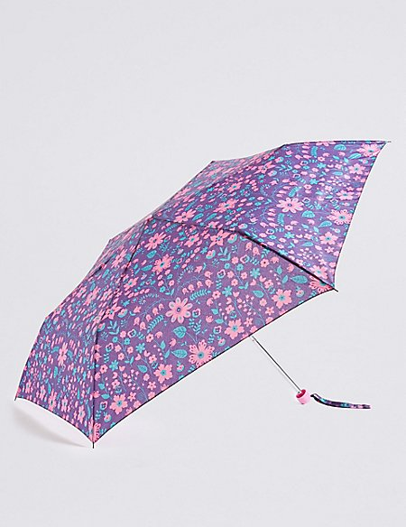 Folk Flowered Compact Umbrella with Stormwear™