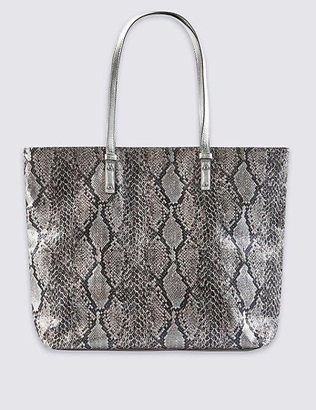 Pure Cotton Faux Snakeskin Print Shopper Bag