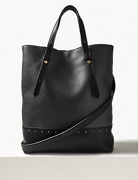 Faux Leather Studded Shopper Bag