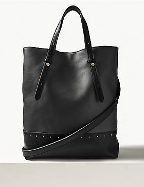 Faux Leather Studded Shopper Bag