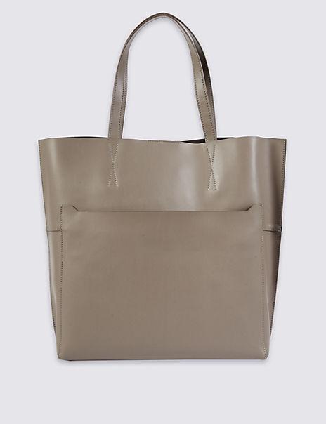 Leather Pocket Shopper Bag
