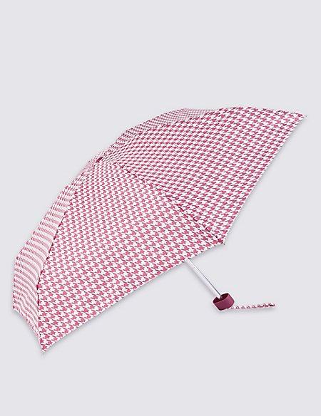 Mini Dogtooth Print Compact Umbrella with Stormwear™