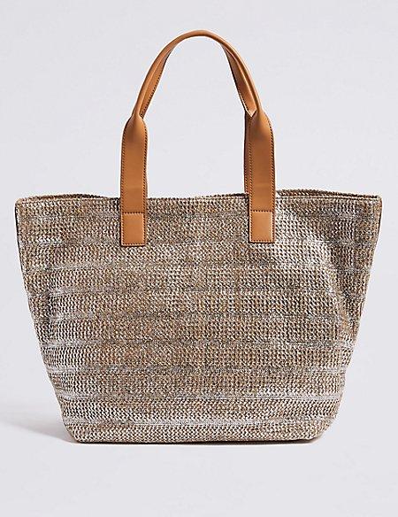 Metallic Striped Shopper Bag
