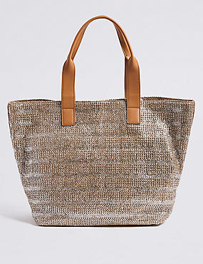 Metallic Striped Shopper Bag