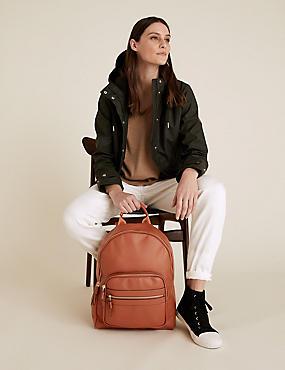 Kunstleder-Rucksack mit umlaufendem Reißverschluss
