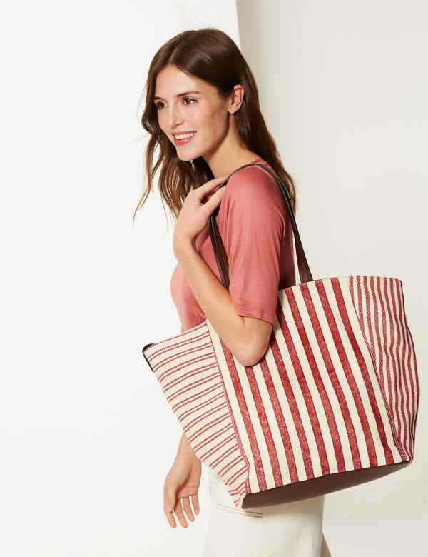 4de4b1c2049123 Pure Cotton Striped Tote Bag. M&S Collection