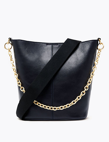 Leather Cross Body Bag with Removable Chain