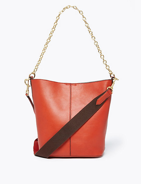 Leather Crossbody Bag with Removable Chain