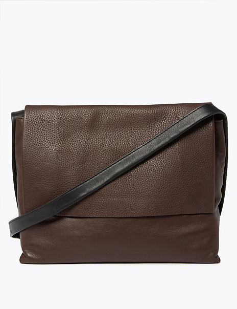 Textured Leather Messenger Bag