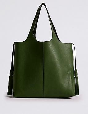 Faux Leather Tassel Shopper Bag