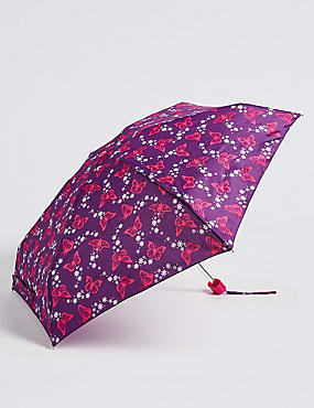 Butterfly Print Compact Umbrella with Stormwear™