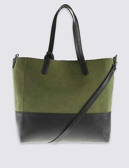 Faux Leather Slouch Shopper Bag