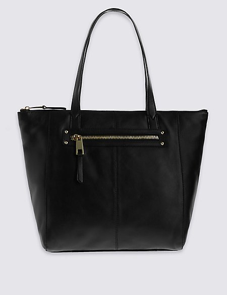Leather Zip Detail Shopper Bag