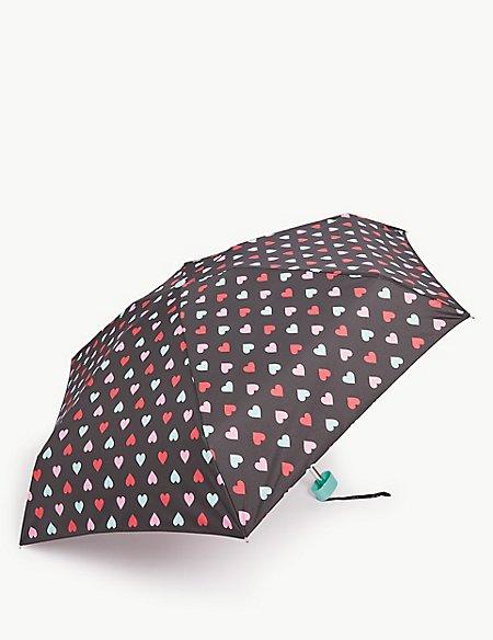 Heart Print Compact Umbrella with Stormwear™