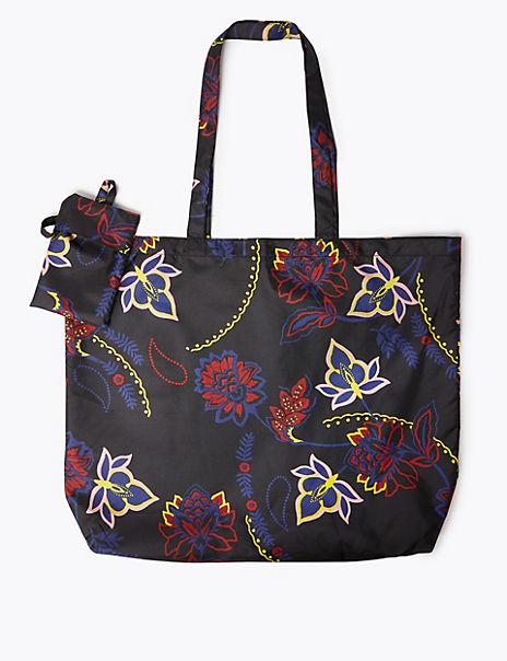 Floral Print Packable Shopper Bag
