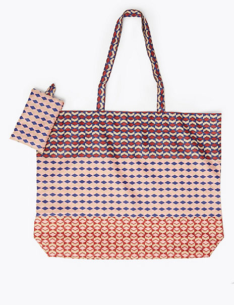 Geometric Print Packable Shopper