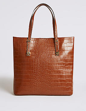 Faux Leather Carry All Shopper Bag