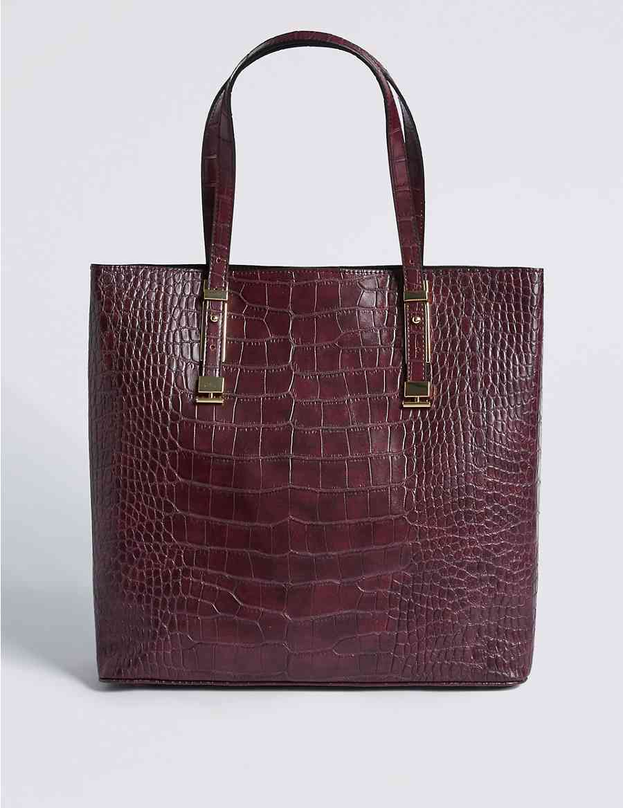 Faux Leather Carry All Per Bag