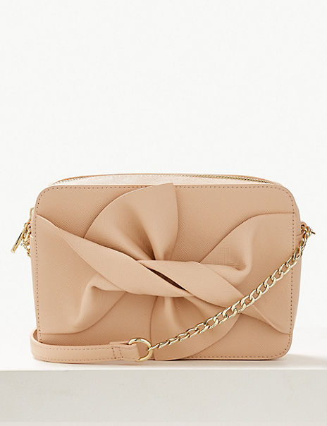 Faux Leather Bow Cross Body Bag