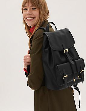 Rucksack aus Kunstleder mit Schnallendetail