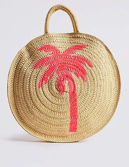 Palm Tree Circle Straw Shopper Bag