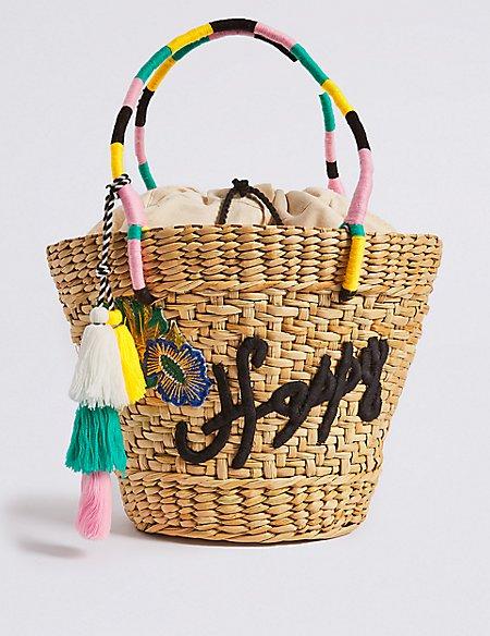 Slogan Straw Basket Shopper Bag