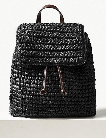 Straw Backpack Bag