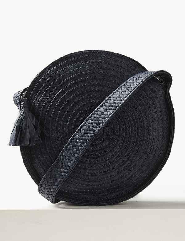 476274a8df4e84 Circle Straw Cross Body Bag. M&S Collection