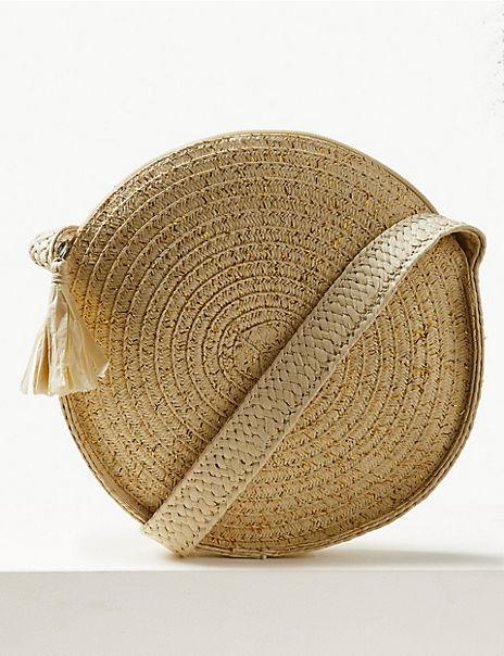 Circle Straw Cross Body Bag