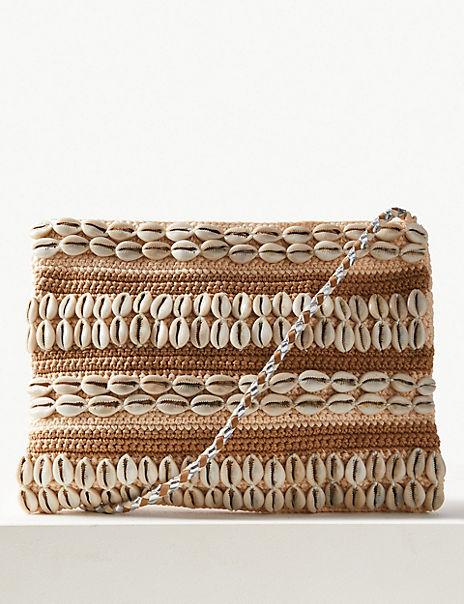 Pure Cotton Zip Detail Cross Body Bag
