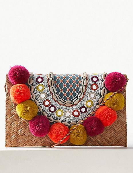 Pom-Pom Clutch Bag