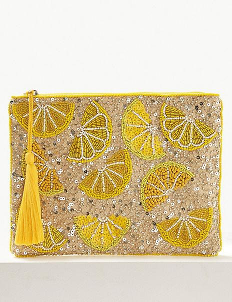 Embellished Zip Detail Clutch Purse