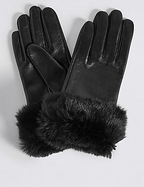 Leather Fur Cuff Gloves