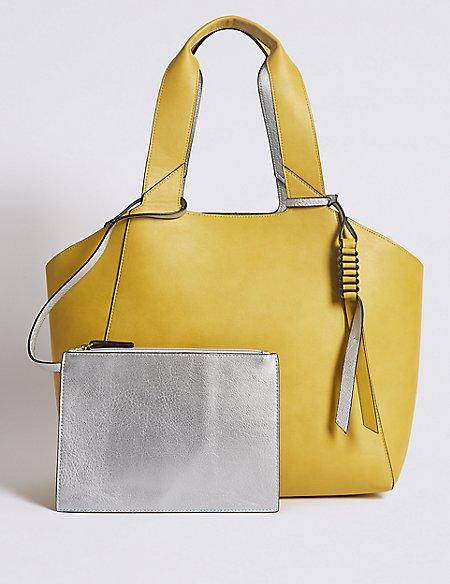 Faux Leather Reversible Shopper Bag