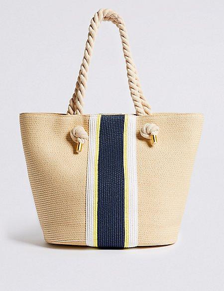 Striped Straw Shopper Bag