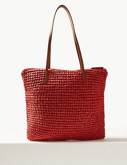 Straw Zipped Detail Shopper Bag | Bags & Purses | Marks and