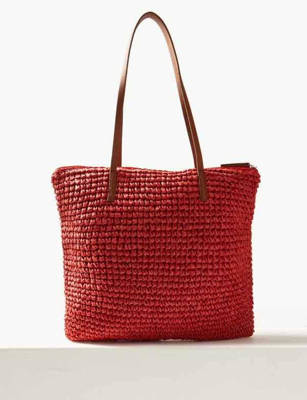 0d4078ea65 Straw Zipped Detail Shopper Bag