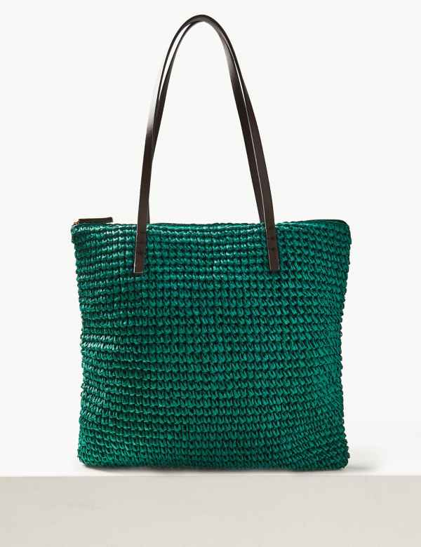 e1508f4559 Straw Zipped Detail Shopper Bag
