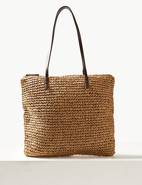 Straw Zipped Detail Shopper Bag