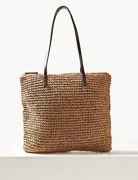 Straw Zipped Detail Shopper Bag