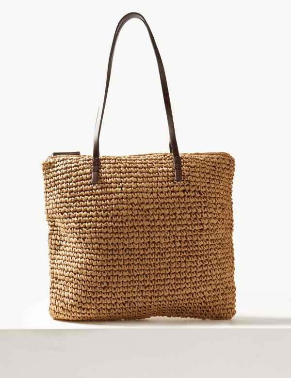 Straw Zipped Detail Shopper Bag dddc1f7252