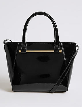 Faux Leather Patent Grab Tote Bag