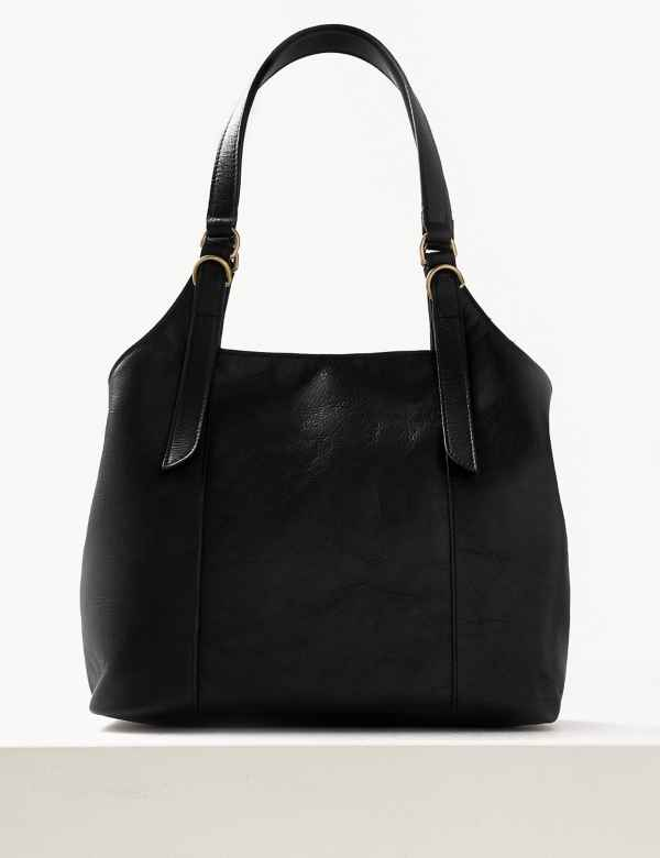 dc437ed927c Leather 3 Compartment Hobo Bag. M&S Collection