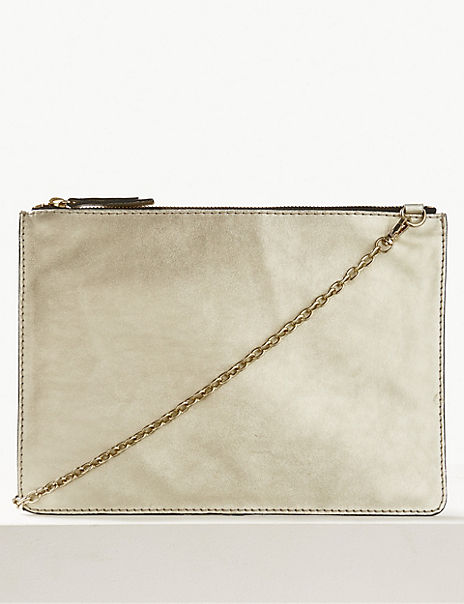 Leather Chain Detail Clutch Bag