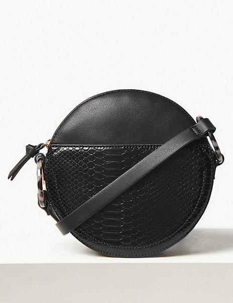 Faux Leather Croc Effect Crossbody Bag