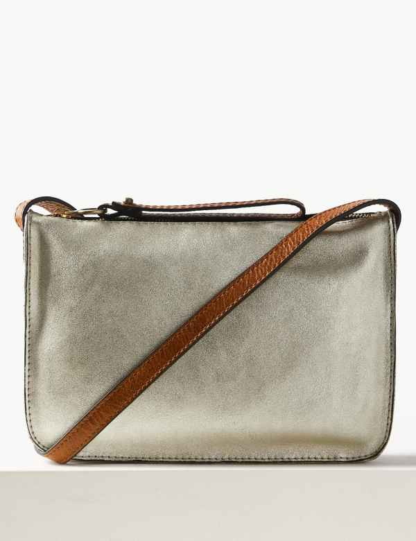 791370895985 Leather Metallic Cross Body Bag. New