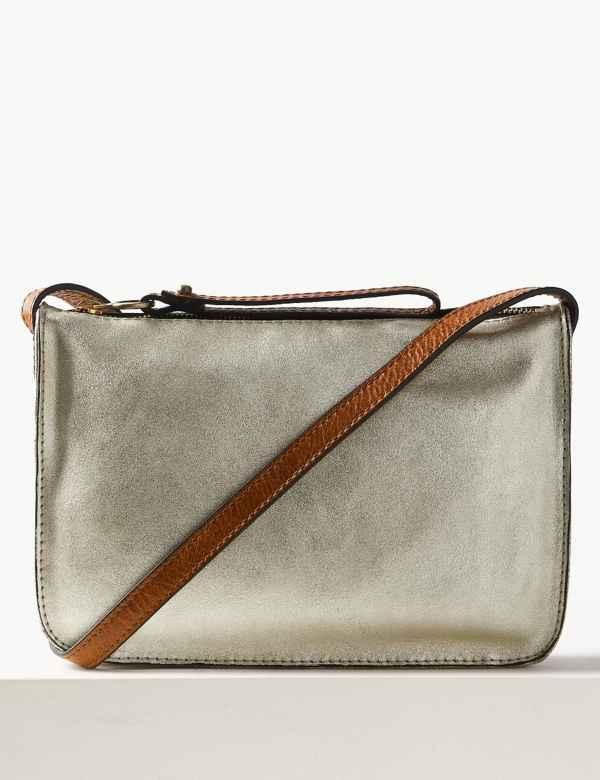 7bf9f1640ece Leather Metallic Cross Body Bag. New