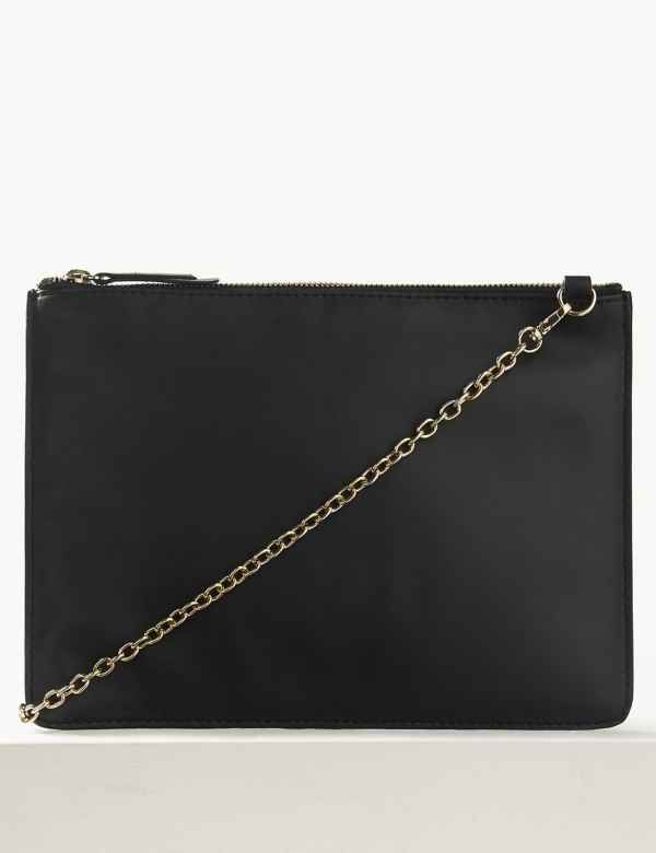 aad3815de85 Leather Chain Detail Clutch Bag