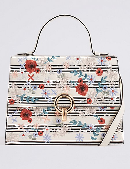 Faux Leather Embroidered Tote Bag