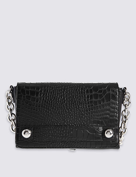 Faux Leather Chunky Chain Shoulder Bag